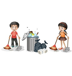 Boy and girl sweeping the floor vector