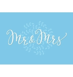 Mr mrs wedding simple lettering decor vector