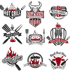 Set of grill bar labels and badges vector image