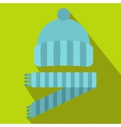 Blue knitted hat and scarf icon flat style vector