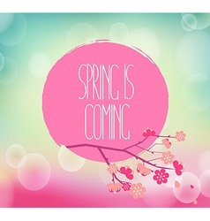 Handwriting inscription spring is coming vector