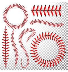 Baseball stitches set baseball red lace vector
