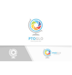 camera shutter and globe logo combination vector image