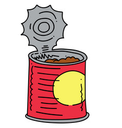 canned food cartoon hand drawn image vector image