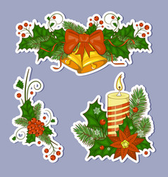 colorful cartoon of christmas bells vector image vector image