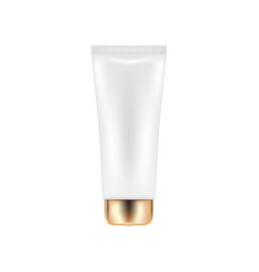 cosmetic tube with golden cap vector image