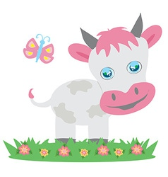 Cow and butterfly vector image vector image