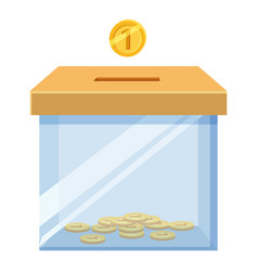 Donation box icon with golden coin icon vector
