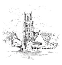 Ely cathedral vintage vector