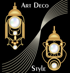 Expensive art deco filigree earrings with pearl vector