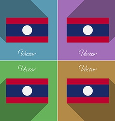 Flags Laos Set of colors flat design and long vector image vector image