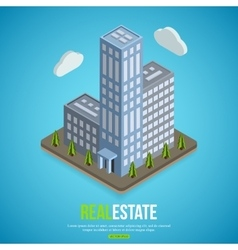 Flat isometric city real estate background with vector