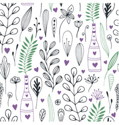 Floral pattern with doodle flowers and leaves vector