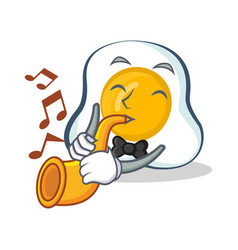 Fried egg character cartoon with trumpet vector
