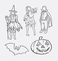 halloween event and character hand drawing style vector image