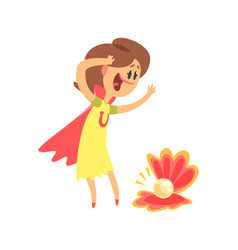 Happy cute cartoon woman admiring with sea shell vector