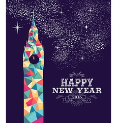 Happy new year 2016 London color triangle hipster vector image vector image