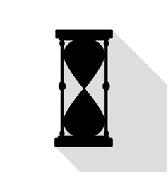 hourglass sign black icon with flat vector image vector image