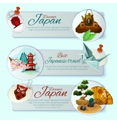 Japan travel banner set vector