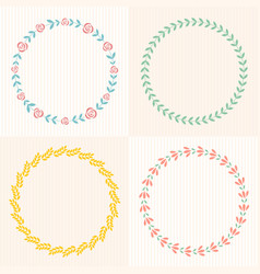 Laurel wreath and flower frame vector