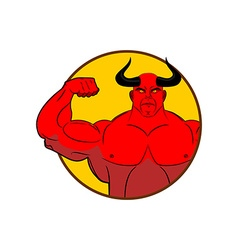 Logo for gym satan bodybuilder shows biceps emblem vector