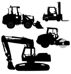 Machinery set of silhouettes of road service vector