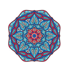 Mandala doodle drawing round ornament red and vector