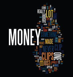 Money clips text background word cloud concept vector
