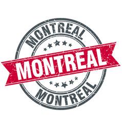Montreal red round grunge vintage ribbon stamp vector