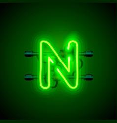 neon font letter n art design singboard vector image