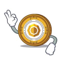 Okay komodo coin character cartoon vector