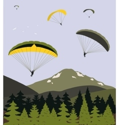 Paragliders over the mountains vector