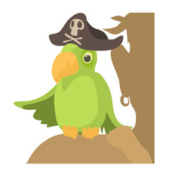 pirate parrot icon cartoon style vector image