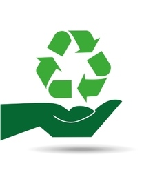 recycle symbol hands holding design icon vector image