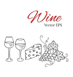 Red wine glass and white wine glass grapes vector image vector image