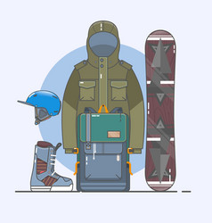 snowboard accessorieswinter sports icon set line vector image