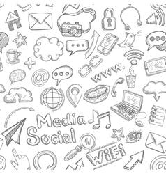 Social seamless doodle vector