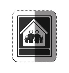 sticker of monochrome portrait of family in home vector image vector image