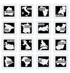 World map icon set vector