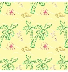 Sea shell palm tree seamless pattern vector