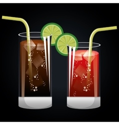 cocktails glasses cold black background design vector image