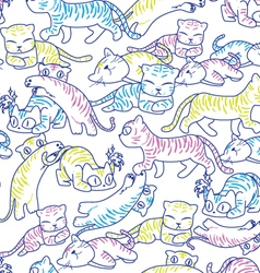 cat pattern light color vector image