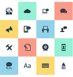 set of simple newspaper icons vector image