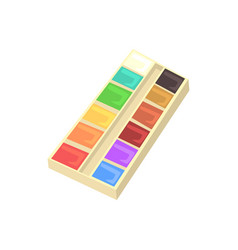 Watercolour paints palette artistic equipment vector