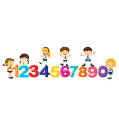 Children counting numbers one to zero vector