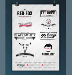 Retro vintage insignias or logotypes set design vector