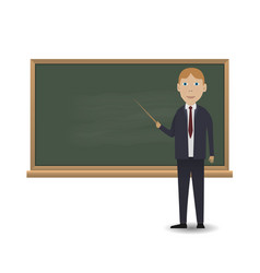 Young teacher standing in front of blackboard vector