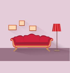 Home lounge interior living room furniture with vector