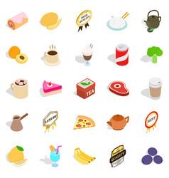 beverage icons set isometric style vector image