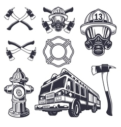 Set of designed firefighter elements vector
